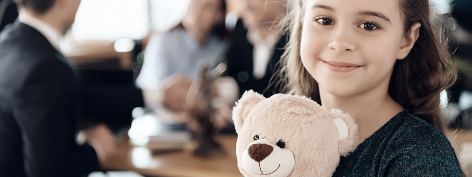 daudlin law banner happy little girl is hugging teddy bear at office of family lawyer registration of guardianship